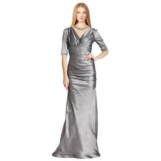 Teri Jon Crisp Ruched Taffeta Illusion Jewel NeEve Gown Dress - 10