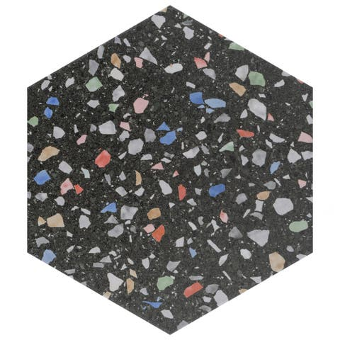 SomerTile Venice Hex Colors Dark 8.63 in. x 9.86 in. Porcelain Floor and Wall Tile - 8.63'' x 9.88''