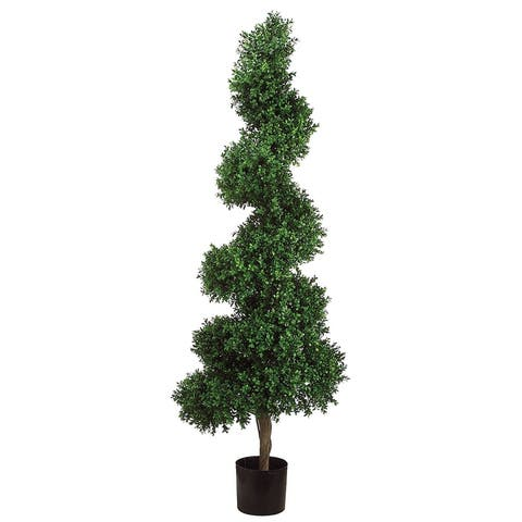 Silk Decor 5.5-Feet Spiral Boxwood Topiary Plant - 66 X 11 X 74 inches