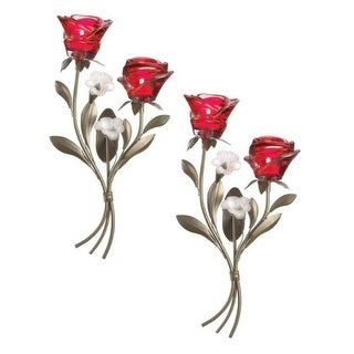 Set of 2 Romantic Roses Wall Sconces