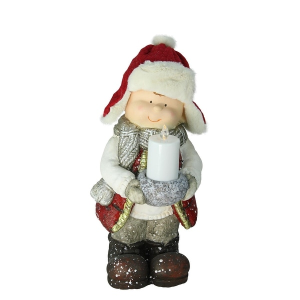"""17"""" Standing Young Boy in Winter Ski Hat Holding Candle Christmas Figure - RED"""