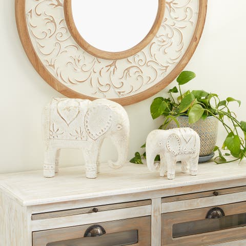 Dolomite Bohemian Sculpture Elephant (Set of 2)