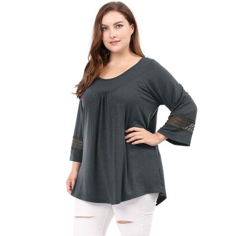 Women Plus Size Crochet Panel Kimono Raglan Sleeves Ruched Front Top