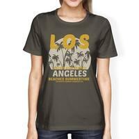 Los Angeles Beaches Summertime Womens Dark Gray Round Neck Tee