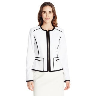 Calvin Klein Piped Zip Up Blazer Jacket - 0