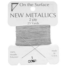 BeadSmith Metallic Thread - Silver Tone 2 Ply Thread For Embellishment 25 Yd