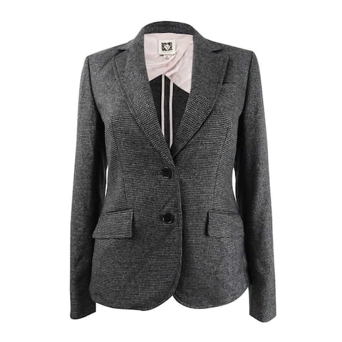 Anne Klein Women's Micro-Check Two-Button Jacket - Anne Black/Grey
