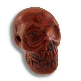 Brecciated Jasper Carved Gemstone Skull Pendant 25mm 1 Inch