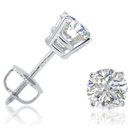 AGS Certified 1ct TW Diamond Earrings in 14K White Gold with Screw Backs