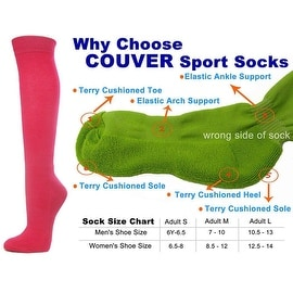 Bright Pink Couver Knee High Unisex Sports Athletic Baseball Softball Socks(3 Pairs)