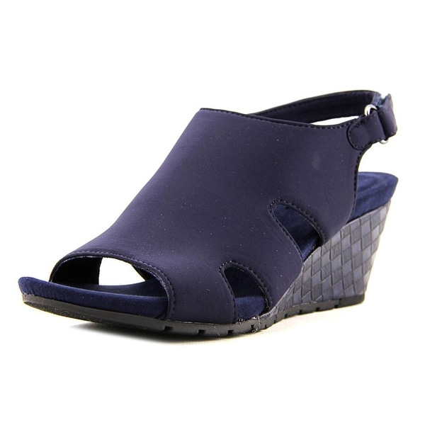Bandolino Gale Dale Women Open Toe Canvas Blue Wedge Sandal