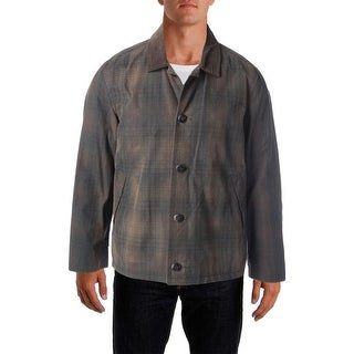 Hickey Freeman Mens Plaid Long Sleeves Basic Coat - L