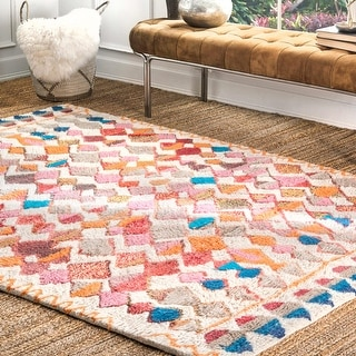 Link to nuLOOM Multi Soft and Plush Handmade Moroccan Diamond Shag Rug Similar Items in Rugs
