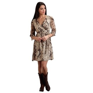 Stetson Western Dress Women 3/4 Sleeve Cream Black