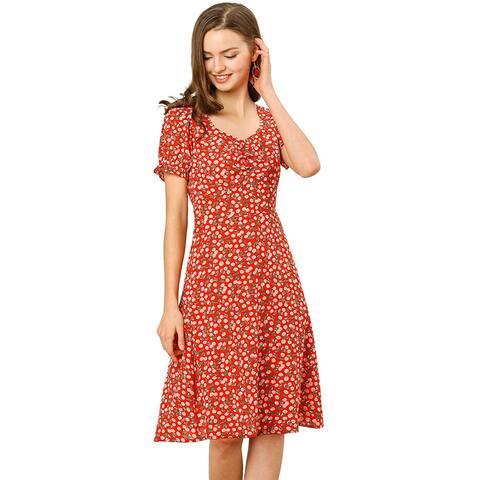 Allegra K Women's Print Casual Short Sleeve Chiffon A Line Dress