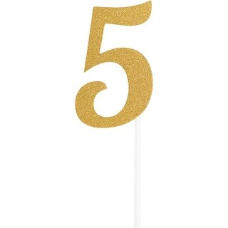 Club Pack of 12 Glittered Gold Party '5' Cake Dessert Toppers 7
