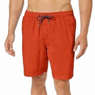 Tommy Hilfiger NEW Orange Mens Size Large L Drawstring Trunks Swimwear