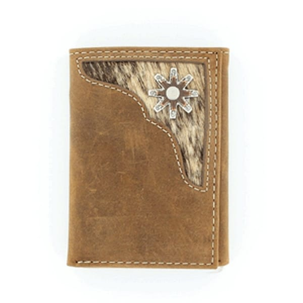 Nocona Western Wallet Mens Trifold Spur Rowel Hair Brown - One size