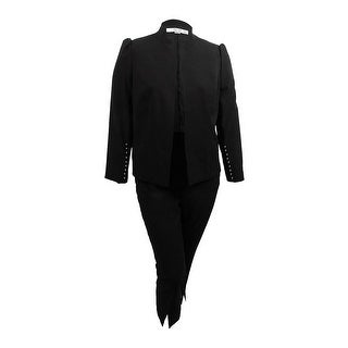 Tahari ASL Women's Embellished Open-Front Pantsuit - Black