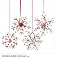 6.5 in. Alpine Chic Tan White & Red Country Rustic Style Snowflake