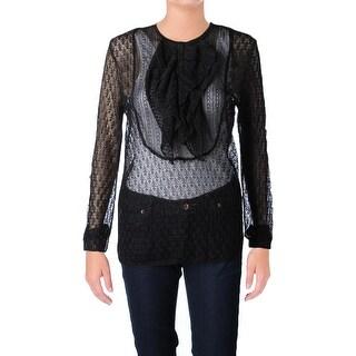Polo Ralph Lauren Womens Henley Sweater Ruffled Pointelle - m