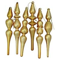 6-Piece Gold Finial Asymmetrical Glass Christmas Ornament Set 7.25""