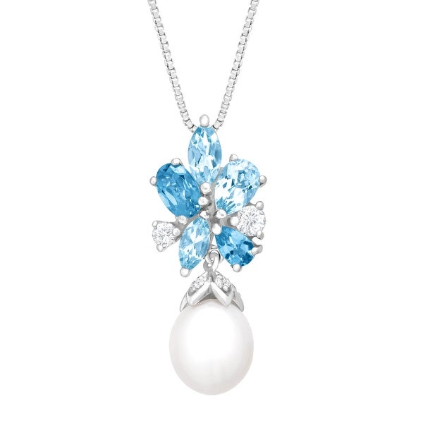 2 1/4 ct Natural Swiss, White, Sky Blue Topaz and 10x8 mm Freshwater Pearl Pendant in Sterling Silver