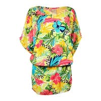 Anne Cole Women's Tropical Print Kangaroo Pouch Swim Cover - multi