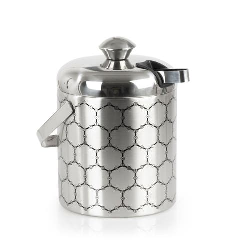 Stainless Steel Ice Bucket with Ice Molecule Pattern