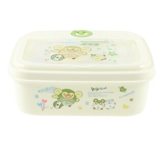 Unique Bargains Household Cartoon Animals Print Clear Plastic Lid Green Off White Lunch Box