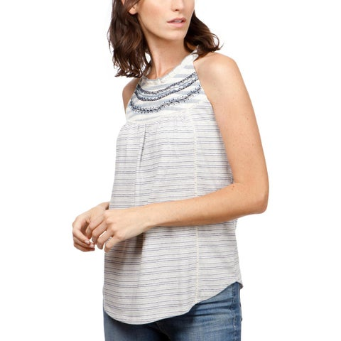 Lucky Brand Womens Halter Top Mixed Stripe Gathered