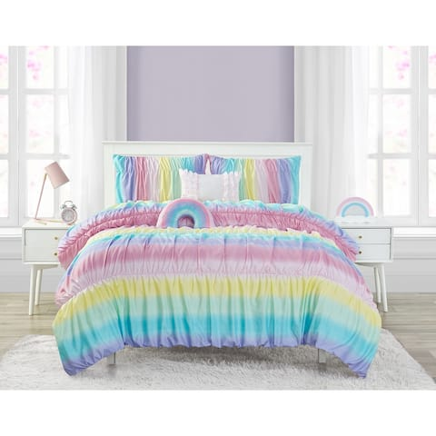 Rainbow Rouched Juvi Ultra Soft 5 PC Reversible Comforter Bedding Set