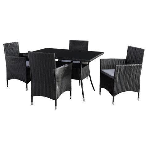 CorLiving Parksville Rectangle Patio Dining Set - Black Finish/Ash Grey Cushions 5pc