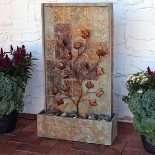 Sunnydaze Floor Water Fountain - Vine Design and Halogen Light - Slate - 32-Inch