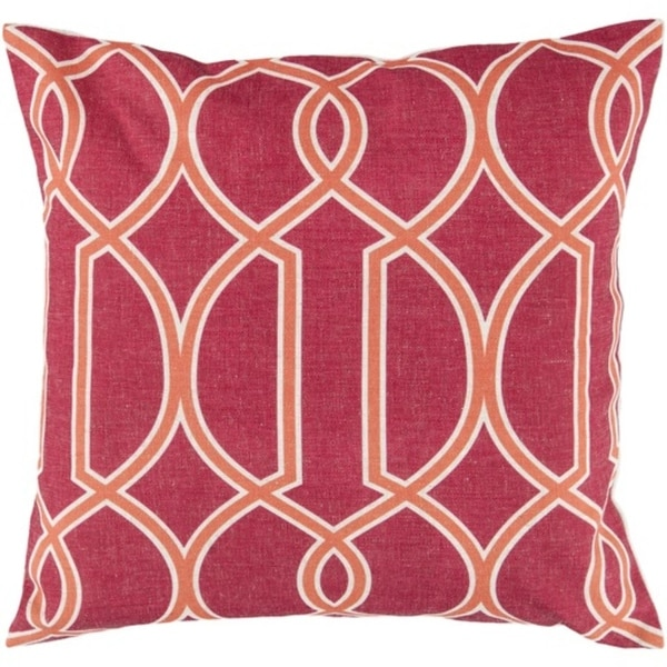 "22"" Cherry Red, Orange and White Trellis Decorative Throw Pillow - Down Filler"