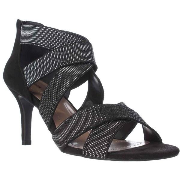 SC35 Seleste Elastic Strap Dress Sandals, Black/Silver
