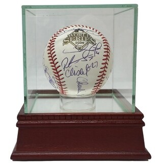 2008 Phillies Team Signed 21 Sig World Series Baseball JSA w/ Glass Display Case