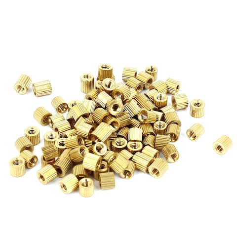 Unique Bargains M2x3mm Cylinder Female Threaded Brass Standoff Spacer Pillars 100 Pcs