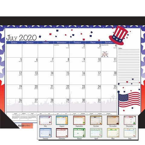 "Monthly Academic Deskpad Calendar, Seasonal Holiday Depictions, 12 Months July-June, 22"" x 17"" - One Size"