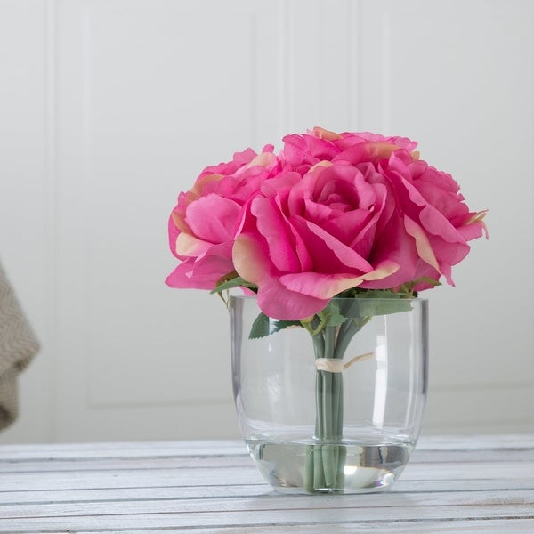 Pure Garden Rose Floral Arrangement with Glass Vase - Pink