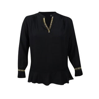 NY Collection Women's Plus Size Embellished Ruffled Blouse - Black (2 options available)