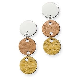 Chisel Stainless Steel Gold and Rose IP Plated Circle Earrings