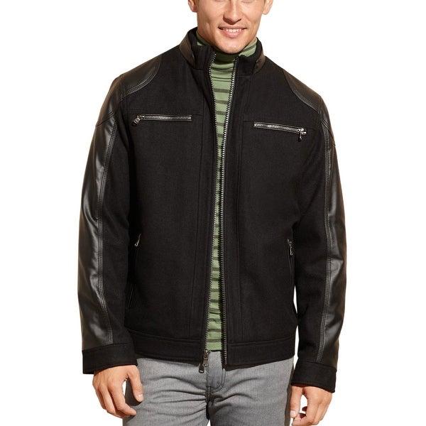 4d884cce2 Shop CALVIN KLEIN CK Black Wool Blend   Faux Leather Jacket Large ...