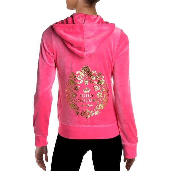 Shop Juicy Couture Black Label Robertson Women S Velour Ornate Logo Track Jacket Overstock 29900835 Tourist Pink M
