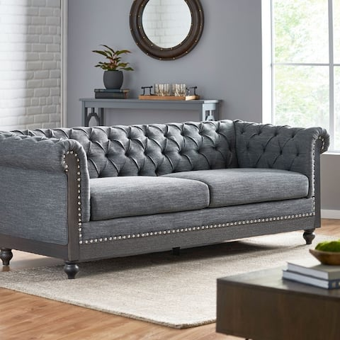 """Castalia Chesterfield Tufted 3 Seater Sofa with Nailhead Trim by Christopher Knight Home - 78.75"""" L x 33.50"""" W x 28.00"""" H"""