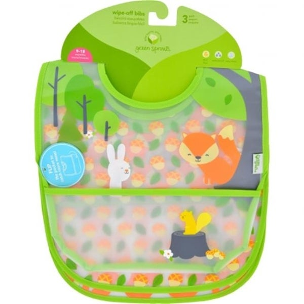 9 to 18 Months Waterproof Forest Bib, Assorted - Pack of 3
