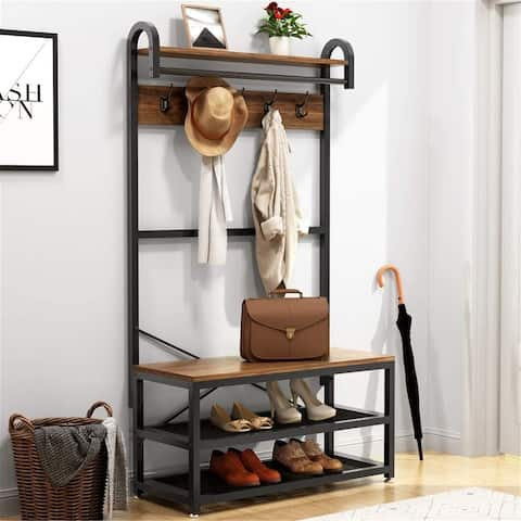 Industrial 4 in 1 Hall Tree with Storage Bench 3-Tier Entryway Bench - Vintage