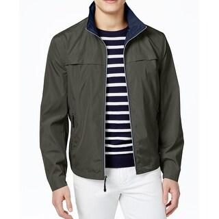 London Fog Green Mens Size XL Full Zip Packable Windbreaker Jacket