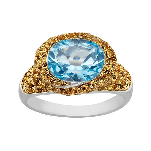 3 5/8 ct Swiss Blue and Honey Topaz Ring in Sterling Silver