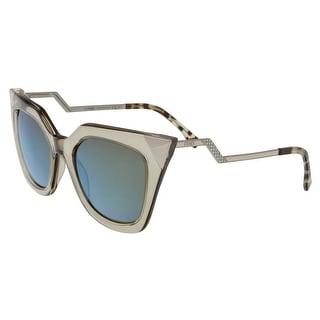 Fendi FF0060S 0MSQ Iridia Clear Dove Grey Cat Eye Sunglasses